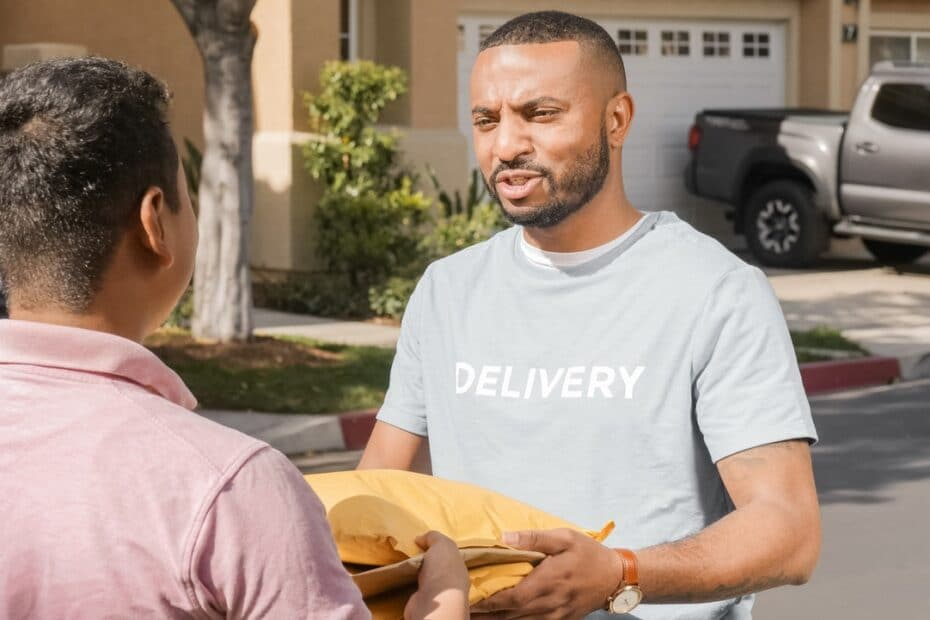 a person delivering items recieved through procurement or purchasing to someone else